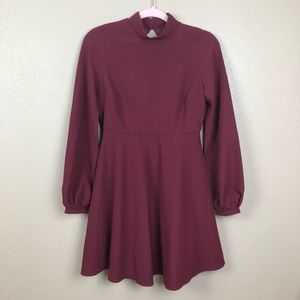 Lulus mock neck burgundy dress